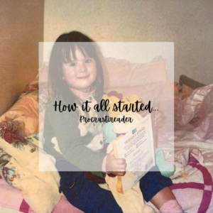"""""""How it all started... Procrastireader"""" is written on a opaque square over a picture of the blogger reading as a child."""