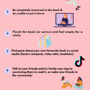 """Pink infographic with black text reads """"How to fall in love with a book"""""""
