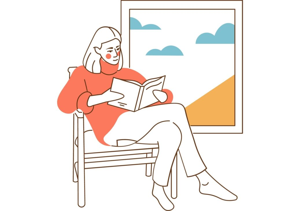 graphic of girl reading in front of window showing clouds