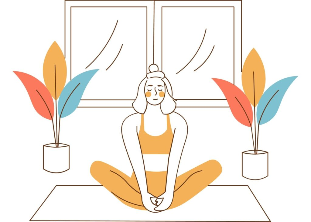 graphic of a girl in yellow sitting in butterfly pose on a yoga mat with 2 plants and a window behind her
