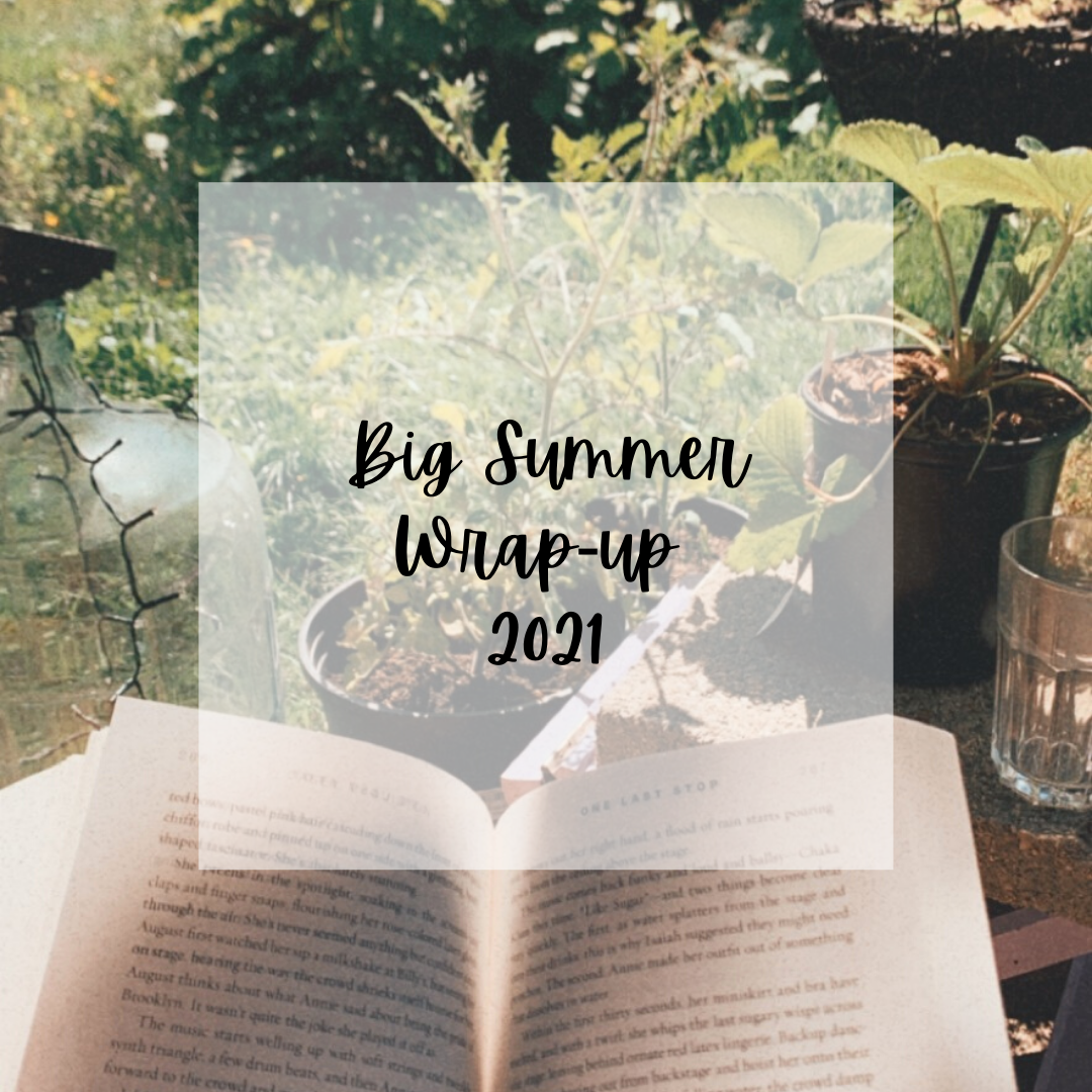 """image of an open book with greenery in the background. Text box reads """"Big summer wrap-up 2021"""""""