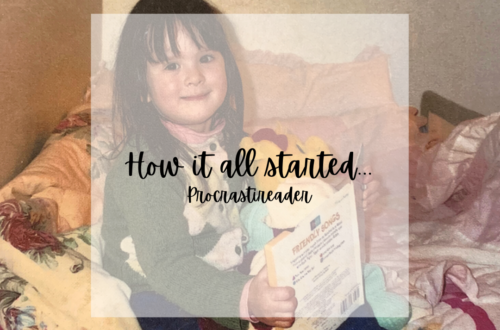 """How it all started... Procrastireader"" is written on a opaque square over a picture of the blogger reading as a child."