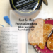 "text reads ""How to stop procrastireading when you really have stuff to do"" over photo of an open book, toast with jam, and round container of fig jam"